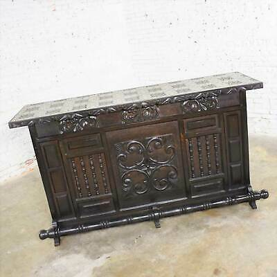 Vintage Spanish Revival Style Dry Bar with Inlaid Tile Top in Style of Artes de