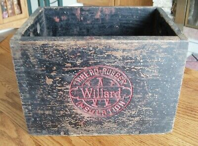 Antique WILLARD Wood Battery Box Thread Rubber Insulation Automotive Advertising