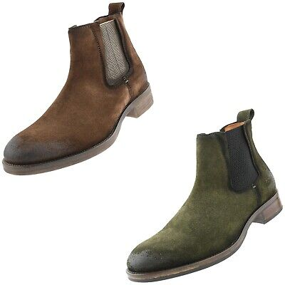 Mens Casual Rugged Genuine Suede Gore Slip On Chelsea Boots , European Style
