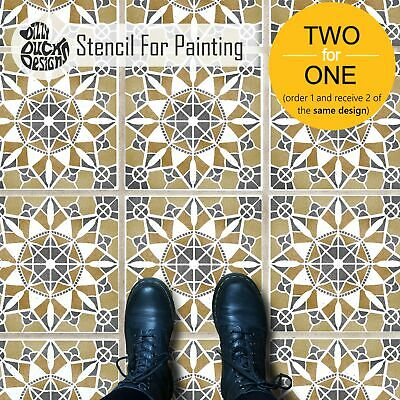 MACRAME Boho Tile Stencil - Floor Wall stencil for Painting