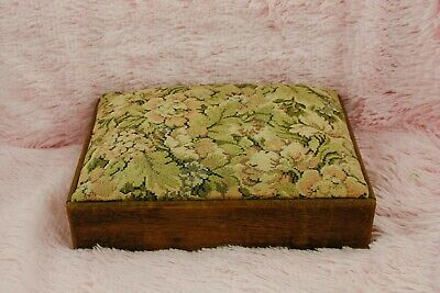 Vintage Oak Foot Rest Footstool Shabby Chique Flowers Romantic Pattern