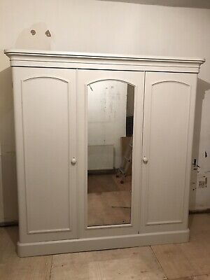 Victorian Mahogany Triple Mirror Door Wardobe Refurbished In Cornforth White