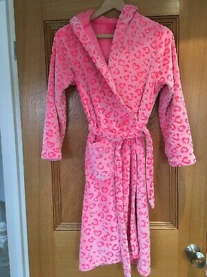 M&S Girls Pink Heart Supersoft Dressing Gown Age 11-12