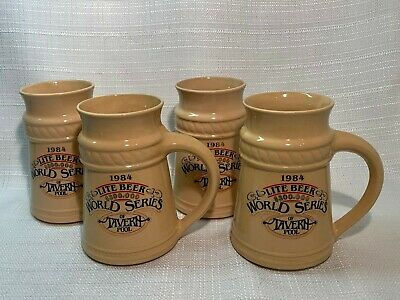 (4)Vintage 1984 Miller Lite Beer Stein Collector Mug World Series Of Tavern Pool
