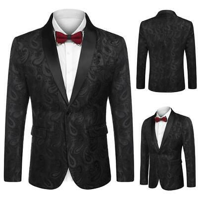 Men Fashion Turn Down Collar Long Sleeve Floral Pocket Blazer GDY7 01