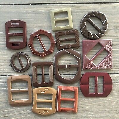 Assorted Vintage Early Plastic Belt Buckles Art Deco Retro Mid Century Modern