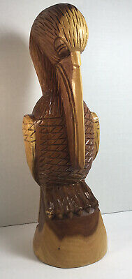 Vintage Hand Carved Wood Pelican Nassau Bahamas 1990 BEAUTIFUL