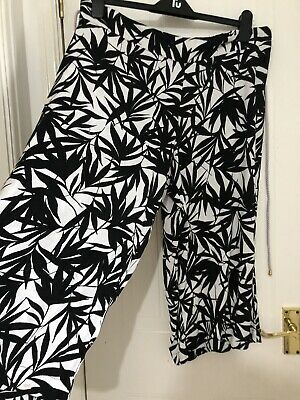 Ladies Loose Leg Crop Summer Black & White With Rope Tie Trousers M&S Size 18 UK