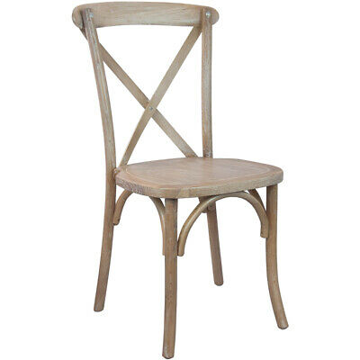 Bistro Style Cross Back Driftwood Wood Stackable Restaurant Dining Chair