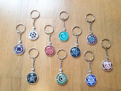 10 keyrings pentagram wicca magic moon lot wholesale gift cabochon glass pendant