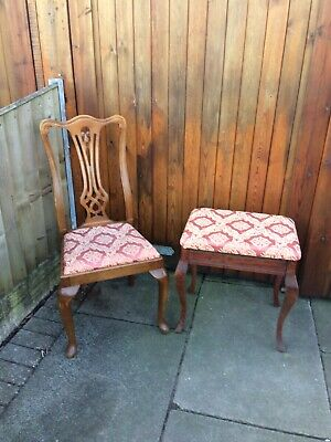 Antique Style Chair And Piano Stool