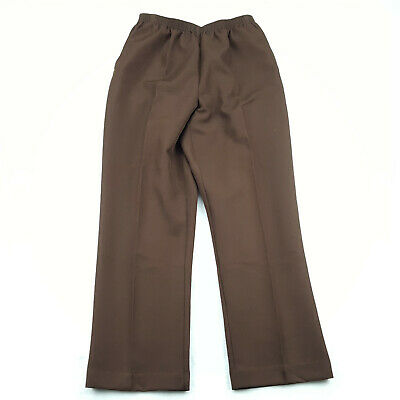 Alfred Dunner Petite Size 12P Casual Pants Solid Brown, Elastic Waist, High Rise