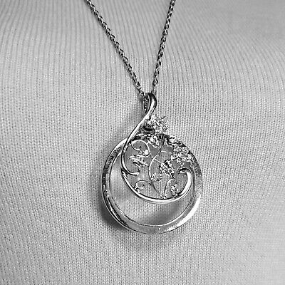 N0067 Silver Tone Flower Branch Design Magnifying Circle Shape Pendant Necklace