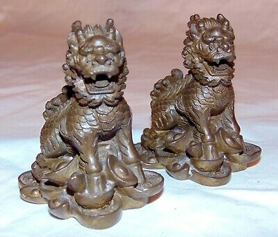 Pair Chinese Bronze Foo Lions Dogs Figurines Miniatures