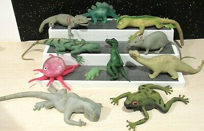Lot Of 11 RUBBER SQUISHY Lizards/Dinosaurs,Frogs  Toys Kids Science Educational
