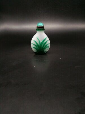 CH0856 Chinese white Glass Nesting Hand carved Grass practical Snuff bottle