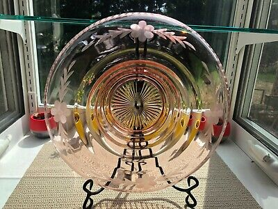 VTG Large Pink Depression Glass Cut Flowers & Leaves Rolled Edge Console Bowl