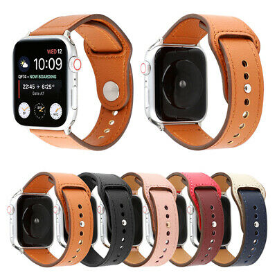 Leather Sports iWatch Band Strap for Apple Watch 38/40mm 42/44mm Series 5 4 3 2
