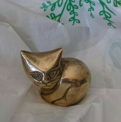 BRASS CAT - VINTAGE SHELF ORNAMENT or PAPERWEIGHT - RETR0 - LOOK!