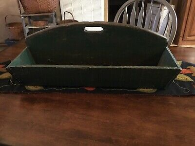 Antique Primitive Old Vintage Green Paint Divided Wood Carrier Tote-AAFA