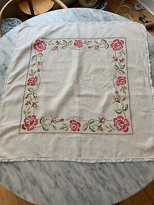 Vintage Hand Emroidered Small Square Tablecloth Linen