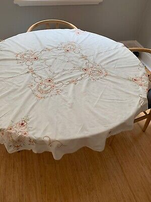 Vintage Round Embroidered Tablecloth
