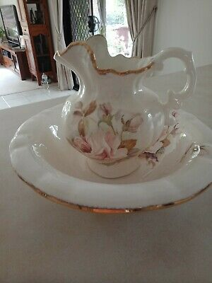 Victorian Water Jug / Pitcher and Basin with Rose pattern and filigree edge