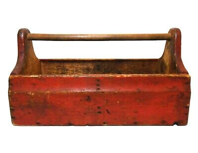 Early 20Th C Vint Rustic Carpenter's Wood Tool Box W/Rod Handle & Orig Red Paint