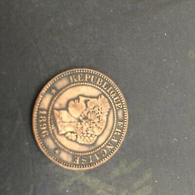 French 3 Rd Republic 1896. 5 Centimes In Copper