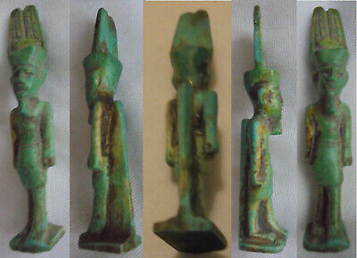 70mm Amun-Re Green Turquoise Porcelain or Stone statue of King Menes Mena God BC