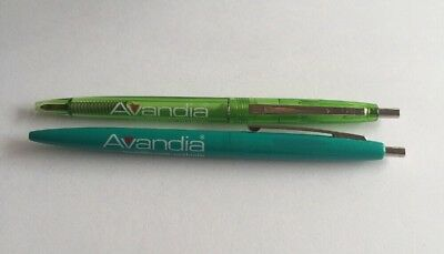 Lot 2 AVANDIA Pharmaceutical Drug Rep Collectible Pens Green Turquoise