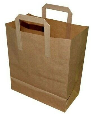"250 x Stronghold Large Brown Paper Take Away Carriers Flat Handles 10""x15.5""x12"""
