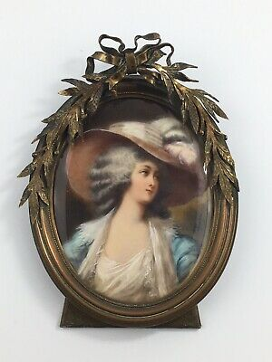 Antique Signed Victorian Miniature Oval Painting Royal Lady Bronze Framed