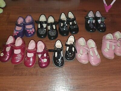 Infant Girls Clarks Shoes Velcro Fastening Size 5.5f