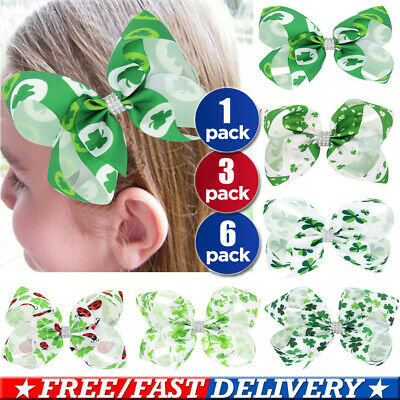 ST PATRICKS DAY SHAMROCK CLOVER IRISH SCHOOL KORKER CORKER CURLY PARTY HAIR BOW