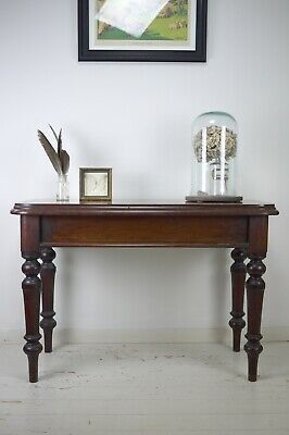 Antique Vintage Mahogany Side Hall Console Desk Table Turned Legs Gillows Style