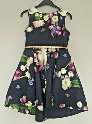 Girls Navy Floral Ted Baker Dress Age 7 Years New Without Tags.