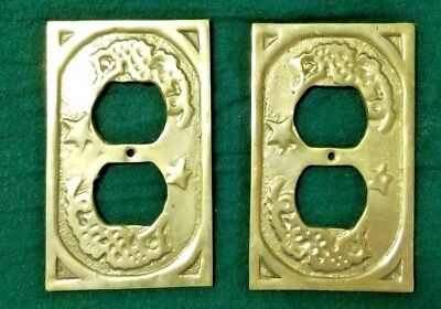 Vintage Decorative Gold Brass Electrical Cover Plate 2 pc Ornate Design Antique