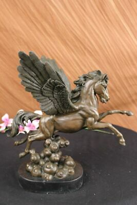 Art Deco Bronze Pegasus Flying Horse by French Artist Moreau Bookend Sculpture