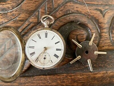 antique solid silver sterling silver gentelman pocket watch working