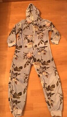 Next Girls Blue Flowered All In One Sleep suit Age 12 Good Condition