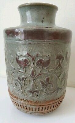 Studio Art Pottery Incised Vase Bird Arts & Crafts Design M Todd grey red splash