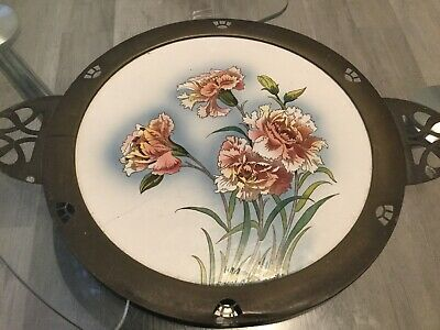 Antique 1858 B M F N Hand Painted   German Porcelain Plate With A  Pewter Rim