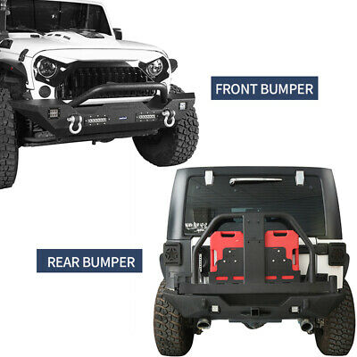 FRONT + REAR BUMPER Tire Carrier Oil Drum Winch Plate for Jeep Wrangler 07-18 JK