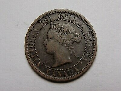 1876 H Canada Victoria Large Cent Vf Very Nice! Must See!!