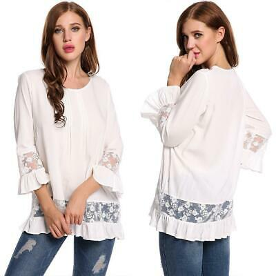 New Women Casual O-Neck Long Sleeve Lace Patchwork Ruffle Brim Pullover GDY7 05