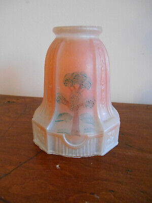 "Antique Vtg Frosted Glass Hand Painted 2-1/4"" fitter bridge Lamp Light Shade"