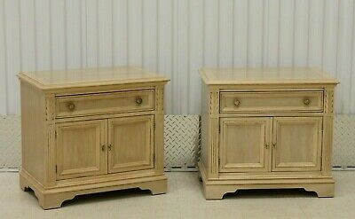 Pair Drexel Tuscany Bisque Nightstands Cabinets #526-630-2