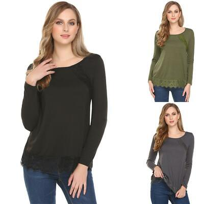 Women Casual O-Neck Long Sleeve Lace Patchwork Regular Fit Sexy Blouse GDY7