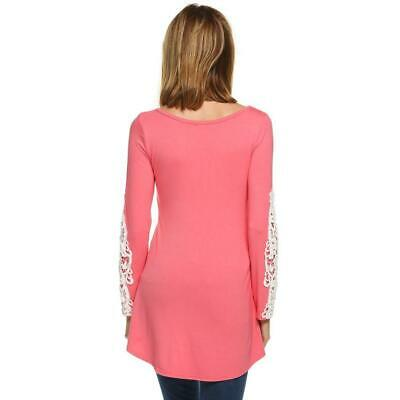 Zeagoo Women Casual O-Neck Lace Patchwork Long Sleeve Slim Stretch GDY7 01